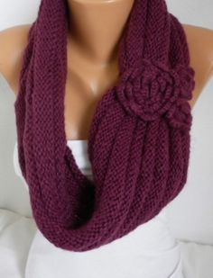 ON SALE  Burgundy  Knit Infinity Scarf Shawl Circle by fatwoman,
