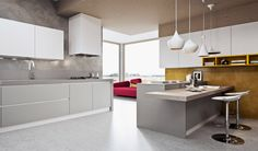 Arredo 3 |  Fog grey laminate floor units | White laminate wall units | Open units in a matt yellow lacquer | Worktop and washing area in okite |
