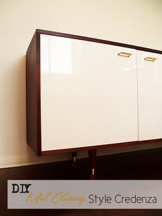 This sideboard was made from Ikea kitchen cabinets.  WOW>  Preciously Me blog : DIY - Ikea Mid Century Style Credenza