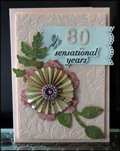 Altered Scrapbooking Moms 80th Birthday Card A Garden Stone With Ribbon