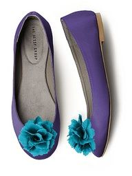 purple and teal flats... could add flower to any dyed shoes to match colors exactly