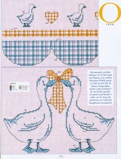 Gees with bow Cross Stitch Kitchen, Simple Cross Stitch, Cross Stitch Bird, Cross Stitch Borders, Cross Stitch Animals, Cross Stitch Flowers, Cross Stitch Charts, Cross Stitching, Cross Stitch Embroidery