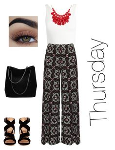 A fashion look from February 2017 featuring Sans Souci, patterned pants and heeled sandals. Browse and shop related looks. Gucci, Thursday, Polyvore, Stuff To Buy, Shopping, Collection, Design, Women, Fashion