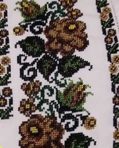 Seed Bead Flowers, Beaded Flowers, Cross Stitch Rose, Cross Stitch Flowers, Embroidery Fashion, Beaded Embroidery, Cross Stitch Designs, Cross Stitch Patterns, Palestinian Embroidery