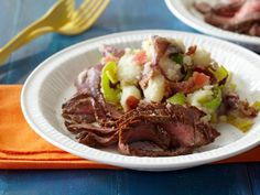 Recipe of the Day: Rachael Ray's Flank Steak with BLT Smashed Potatoes In just 35 minutes, with a quick marinade and a hot grill, you get a big-flavored steak dinner, served with bacon, leek and tomato-loaded smashed potatoes.