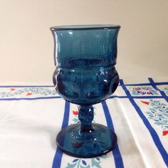 8 Indiana Glass Company Cobalt Goblets Thumbprint by ScavengerAesthetic
