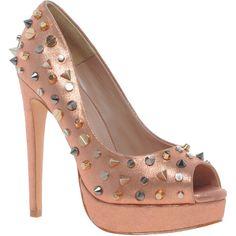 Carvela Genie Studded Metallic Platform Shoes ($246) ❤ liked on Polyvore