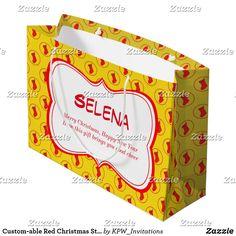 Custom-able Red Christmas Stocking Large Gift Bag