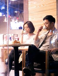 Cute 2nd lead couple sipping coffee~  A Kdrama Girl's Thoughts