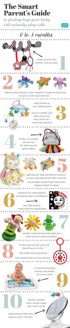 Guide to baby toys for baby's age. Great guide for grandparents and other family, too!