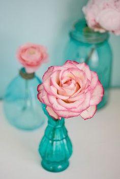 turquoise vintage glass jars