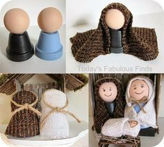Make Your Own Childrens' Nativity Set - Manualidades - Nativity Ornaments, Nativity Crafts, Christmas Nativity, Noel Christmas, Christmas Ornaments, Nativity Sets, Flower Pot Crafts, Clay Pot Crafts, Craft Stick Crafts