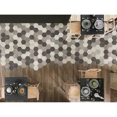 Beautiful example of using hexagonal tiles; neutral palette Rewind collection by Ragno Deco Restaurant, Restaurant Design, Floor Patterns, Tile Patterns, Hexagon Tiles, Mosaic Tiles, Tiling, Wall And Floor Tiles, Wall Tiles