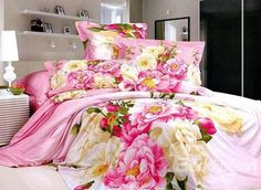 Pink Flowers World Printed 4 Piece Girls Duvet Cover Bedding Sets  on sale, Buy Retail Price Cotton Bedding Sets at Beddinginn.com