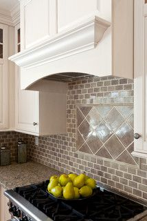 Traditional Kitchen Backsplash monochromatic glass tile backsplash | kitchen possibilities