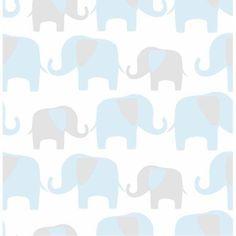 NuWallpaper Blue Elephant Parade Peel and Stick Wallpaper