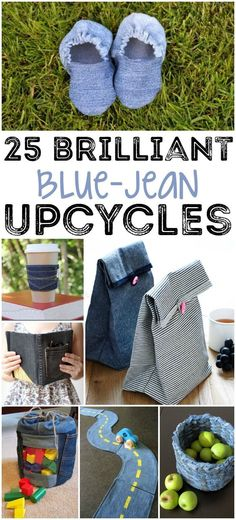 Don't throw those old jeans away! These 25 upcycled denim projects will give… Don't throw those old jeans away! These 25 upcycled denim projects will give them new life! You'll be amazed at what you can do with an old pair of ratty jeans! Upcycled Crafts, Sewing Crafts, Repurposed, Upcycled Clothing, Diy Crafts, Craft Projects, Sewing Projects, Recycling Projects, Jean Crafts