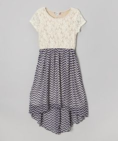 Ivory Lace & Zigzag Navy Hi-Low Dress by Speechless on #zulily #ad *pretty