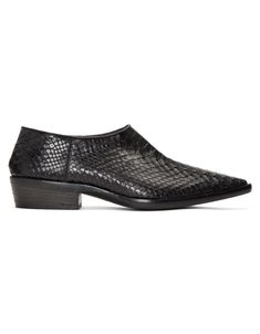 <h3>HAIDER ACKERMANN</h3> Black Python Visconti Loafers