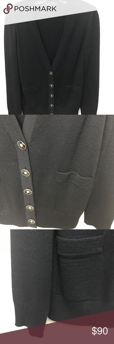 St.John Knit black V-neck sweater w/ gold buttons Beautiful St.John Knit cardigan with black golf floral buttons- beautiful fit! Size small great condition - front pockets St.John Sweaters Cardigans