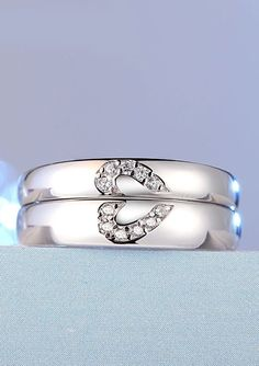 Two Half Hearts Promise Rings for Couples, Sterling Silver Wedding Rings with CZ Diamond Accents, Matching Boyfriend and Girlfriend Jewelry Set