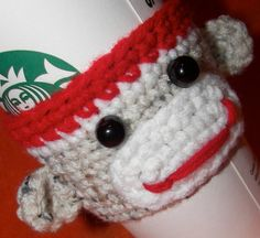 Sock Monkey Cozy. Available for travel cups, mugs, cans, water bottles, & beer bottles. Funny Cozy $11