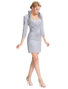 05d3ea16459a Strapless Sheath Column Short Satin Evening Dress + Grey Bolero