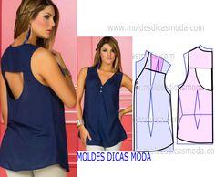 Observe com atenção e rigor a transformação do molde de blusa com decote nas costas antes de iniciar qualquer outro processo.