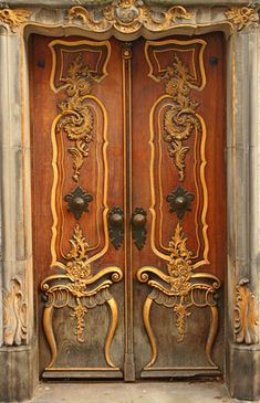 Magnificent double door in Poland. Many variations on the basic, single-leaf design are possible, such as the double-leaf door or double doors and French doors that have two adjacent independent panels hinged on each side of the doorway.