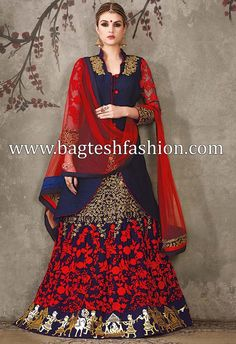 Exclusive Navy Blue And Red Lehenga Choli
