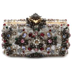 Alexander McQueen Heart Medallion Embellished Clutch ($3,740) ❤ liked on Polyvore featuring bags, handbags, clutches, heart purse, embellished handbags, alexander mcqueen clutches, embellished purses and clasp handbag