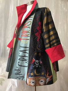Starr Hagenbring's stunning jackets with kaleidoscopes of colors will amaze you. Kaleidoscopes, Meet The Artist, Have Fun, Kimono Top, Artists, Colors, Jackets, Shopping, Tops