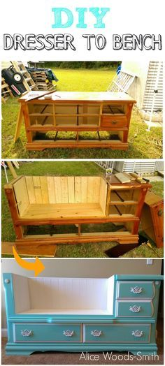 Alice Woods-smith shares how she transformed an old dresser into a seating bench http://grillo-designs.com/alices-dresser-bench/
