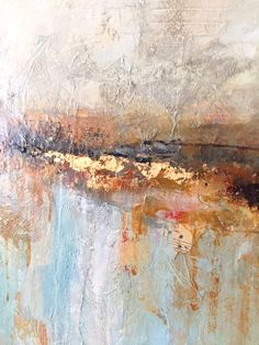 Close up of a mixed media painting  by Diana Mulder using gold leaf