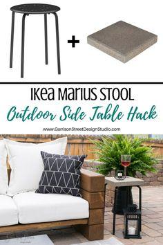Ikea Marius Stool Outdoor Side Table Hack - Another! Patio Ikea, Ikea Patio Furniture, Patio Diy, Diy Outdoor Table, Furniture Ideas, Garden Furniture, Backyard Patio, Furniture Makeover, Diy Table