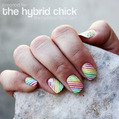 fingers, nail designs, manicur, nail arts, scrapbook paper, rub alcohol, rainbow, dips, stripe