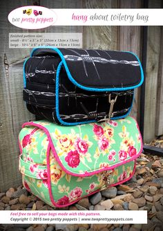 An easy to follow sewing pattern to create your very own 'Hang About Toiletry Bag'. This toiletry bag pattern comes in two sizes and is perfect for men and women alike. It is a simple yet functional toiletry bag that has 2 zipper pockets along with the main compartment, and 3 hanging options for ease of use.
