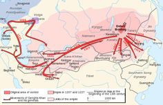 Significant conquests and movements of Genghis Khan and his generals.
