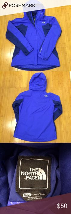 North Face Gore Tex rain coat Gore Tex rain jacket by North Face Size: women's medium Color: Royal blue with navy blue panels Material: Nylon outer and lining with polyester panels  Pockets: Two large zipper side pockets Hood: Zip off hood with structured brim Other features: Gore Tex outer is waterproof and breathable. Extra zipper on inside to zip in a North Face liner coat (not included) for extra warmth. Flaws: None. Condition: Excellent. The North Face Jackets & Coats