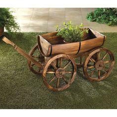 Wagon Planter, Wheelbarrow Planter, Barrel Planter, Planter Garden, Wooden Planters, Outdoor Planters, Outdoor Gardens, Wooden Wagon Wheels, Wooden Wheel