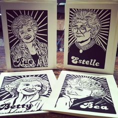 Awesome Golden Girls linocut cards by MoneyCity