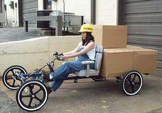 flat bed cargo bike   Handlebar steering wheel Black mag or chrome spoke wheels White Wall ...