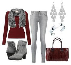 """""""Burgundy and Grays"""" by jenney-rae on Polyvore featuring Miss Selfridge, Karl Donoghue, 7 For All Mankind, Brunello Cucinelli, Aerosoles and Irene Neuwirth"""
