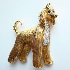 Vintage Jomaz Goldtone Rhinestone Afghan Figural Dog Pin Brooch Signed
