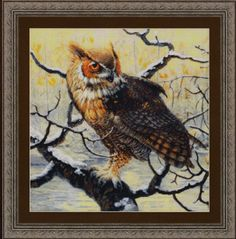 Kustom Krafts Great Horned Owl - Cross Stitch Pattern. Model stitched on 14 Ct. Smoke Aida with DMC floss. Stitch Count: 224W x 224H. Based on the artwork of To