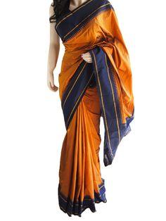 Brand New Rust & Blue Pure South Silk Saree