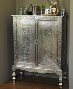 Decoupaged Armoire and bar