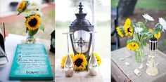 Lanterns and sunflowers at wedding