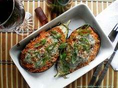 Lilek zapečený s kuskusem Eggplant, Quiche, Breakfast, Recipes, Food, Morning Coffee, Essen, Eggplants, Eten