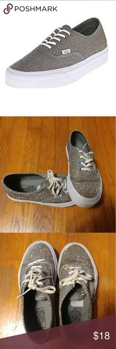 Simple Vans 2 Tone Glitter Authentic Shoes Women In White